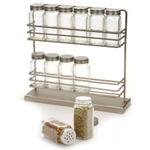 RSVP Stainless Steel Two-Tier Spice Rack with 12 Bottles