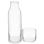Finn Tall Glass Bedside Carafe with Cup, 28 Ounce