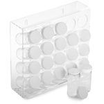 Prodyne Mountable Acrylic Spice Rack with 20 Glass Bottles