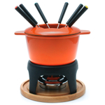 Swissmar Sierra 11 Piece Orange Cast Iron Meat Fondue Set