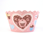 Bella Cupcake Couture Hailey Pink and Blue Heart and Cupcake Wrapper, Set of 12