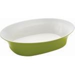 Rachael Ray Round and Square Collection Large Green Stoneware Oval Serving Bowl, 14 Inch