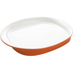 Rachael Ray Round and Square Collection Orange Stoneware Serving Platter, 14 Inch