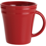 Rachael Ray Red Stoneware Double Ridge Mug, Set of 4