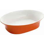 Rachael Ray Round and Square Collection Large Orange Stoneware Oval Serving Bowl, 14 Inch