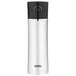 Thermos Vacuum Insulated Black and Stainless Steel Leak Proof Drink Bottle with Tea Infuser, 16 Ounce