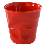Revol Froisses Pepper Red Porcelain 2.75 Ounce Crumpled Espresso Tumbler