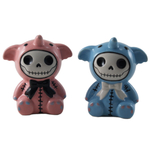 Summit Elefun His and Hers Pink and Blue Ceramic Elephant Furry Bones Salt and Pepper Shaker Set