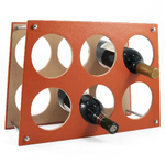 Retro Orange Leather 6 Bottle Wine Rack
