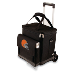 Picnic Time NFL Cleveland Browns Insulated 6 Bottle Cellar Wine Tote with Trolley