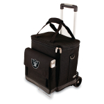 Picnic Time NFL Oakland Raiders Insulated 6 Bottle Cellar Wine Tote with Trolley