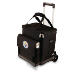 Picnic Time NFL Pittsburgh Steelers Insulated 6 Bottle Cellar Wine Tote with Trolley