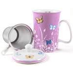 Ashdene Tranquil Butterfly Plum Bone China Mug and Infuser Set