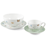 Ashdene Tranquil Butterfly Sage Bone China 4 Piece Sage Breakfast Set