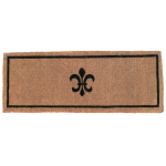 Entryways Black and Tan Fleur Di Lys Coir Doormat, 18 x 47 Inch