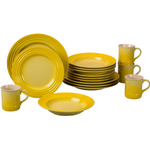 Le Creuset 16 Piece Soleil Yellow Stoneware Dinnerware Set, Service for 4