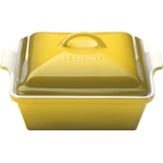 Le Creuset Heritage Soleil Yellow Stoneware Covered Square Casserole Dish, 2.5 Quart