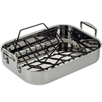 Le Creuset Small Stainless Steel Roasting Pan with Rack