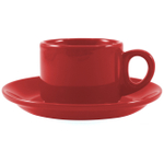Omniware Espresso Coffee Delight Red Stoneware Mug and Saucer Service for 2