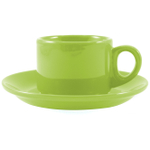 Omniware Espresso Coffee Delight Citron Stoneware Mug and Saucer Service for 2