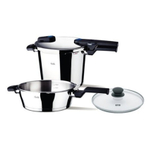 Fissler Stainless Steel Vitaquick Quattro Pressure Cooker Set with Glass Lid, 6.4 Quart and 2.7 Quart