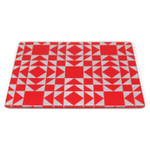 Strawberry Patchwork Tempered Glass Rectangular Cutting Board, 8 x 10 Inch
