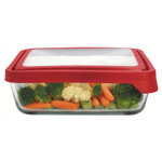 Anchor Hocking TrueSeal 11 Cup Rectangular Food Storage Container with Red Lid