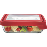 Anchor Hocking TrueSeal 6 Cup Rectangular Food Storage Container with Red Lid