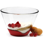 Anchor Hocking Splashproof Mixing Bowl with Cherry Red No-Slip Base, 1 Quart