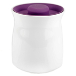 Anchor Hocking Ceramic Studio Canister with Eggplant Airtight Silicone Lid, 48 Ounce