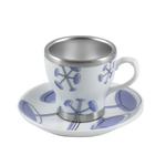 Pearl Cafe Stainless Steel and Porcelain Purple Espresso Cup and Saucer Set, Service for 4