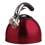 Primula Red Stainless Steel Soft Grip Whistling Stainless Steel Tea Kettle, 3 Quart