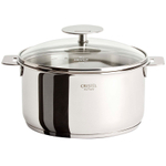 Cristel Multiply Stainless Steel 1 Quart Saucepan with Glass Lid
