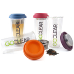 GoClear 14.5 Ounce Double Walled Glass Combo Tumbler with Assorted Color Silicone Lid and Tea Infuser, Set of 2