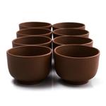 Brown Yixing 3 Ounce Teacup, Set of 8