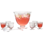 Artland Aspen 8 Piece Handcrafted Glass Punch Bowl Set