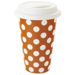 Yedi Housewares Pumpkin Orange with White Polka Dot Travel Mug, 11 Ounce