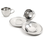 Stainless Steel Cappuccino Cup and Saucer Set, Service for 2