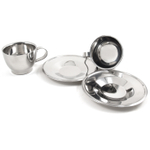 Stainless Steel Coffee Cup and Saucer Set, Service for 2