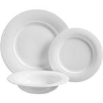 Luigi Bormioli Eterno White Porcelain 12 Piece Dinner Set with Service for 4