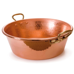 Mauviel M'passion Hammered Copper Jam Pan with Bronze Handles, 10.6 Quart