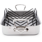 Mauviel M'Cook Rectangular 18/10 Stainless Steel Roasting Pan with Rack, 15.7 Inch