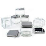 Grant Howard Glass Small Square 27 Ounce Canister with Brushed Stainless Lid