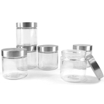 Grant Howard Glass Small Round 28 Ounce Canister with Brushed Stainless Lid