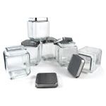 Grant Howard Glass Small Square 43 Ounce Canister with Brushed Stainless Lid