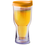 Vino2Go Yellow Insulated Beer Tumbler With Drink Through Lid, 16 Ounce