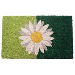 Entryways Daisy on Green Hand Woven Coir Non-Slip Doormat, 17 x 28 Inch