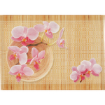 Melamine Orchid and Bamboo Medium Footed Serving Tray with Handles