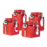 Oggi EZ Grip Red Ceramic Food Storage Canister Set