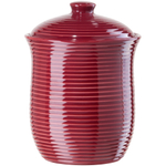 Oggi Medium Red Ceramic Ribbed Food Storage Canister